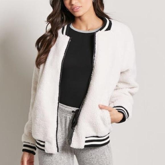 enjoy big discount men/man latest trends Forever 21 Faux Shearling Bomber Jacket Teddy Coat